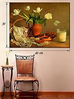 Картина 30х40 на холсте «Белые тюльпаны»