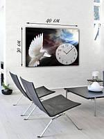 Фотографическая картина с часами «Белый голубь»