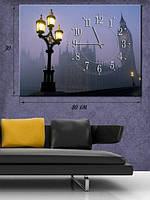 Фотографическая картина с часами «Биг Бен и уличный фонарь»