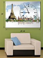 Фотографическая картина с часами «Эйфелева башня»