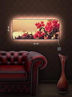 Картина с подсветкой 29х69 «Красные цветы»