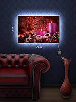 Картина с подсветкой 29х45 «Рождественские свечи»