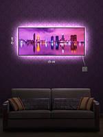 Картина с подсветкой 29х69  «Город на воде»
