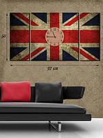 Модульная картина с часами 50х92 на холсте «Английское время»