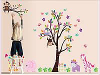 """Наклейка на стену, наклейка в детскую, наклейки на шкаф """"звери возле дерева"""" 156*280см"""