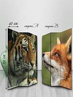 Ширма двусторонняя, Лисица и тигр