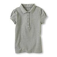 Детская школьная серая футболка поло для девочки, на рост 107-122, 152-157 см. (арт.3202)