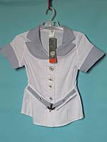 Школьная блузка UMBO белая с коротким рукавом, голубым воротником + пряжка на поясе