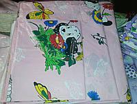 Комплект сменного постельного белья 3 в 1 бязь Розовый Собачка