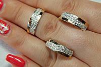 Серебряный гарнитур кольцо и серьги с пластинами золота 375 пробы