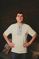 Светлая мужская футболка с вышивкой