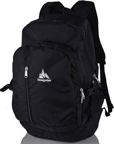 Стильный мужской рюкзак на каждый день 20 л. Onepolar W1800-black чёрный