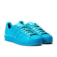Женские яркие кроссовки Adidas Superstar Supercolor синие