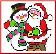 """Набор для вышивки крестиком детский """"Дед Мороз и Снеговик"""""""