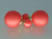 """Брендовые серьги """"Dior"""" с позолотой и красной матовой эмалью."""