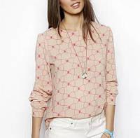 Блузка кремовая с длинными рукавами