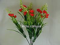 Искусственный куст левкоя с красными цветами и бутонами