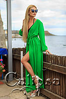 Женская пляжная туника в пол, длинный рукав