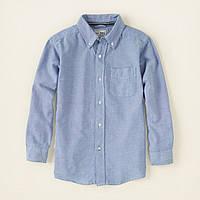 Детская голубая рубашка для мальчика, на рост 133-147 см.(арт.2984)