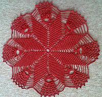 Скатерть салфетка красная D-35 cm, вязаная крючком, ручная работа. Отличный подарок девушке, женщине, маме