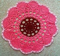 Скатерть салфетка розовая, D40 cm, вязаная крючком, ручная работа. Отличный подарок девушке, женщине, маме