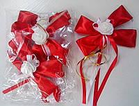 Бутоньерки на ручки свадебного авто (красные) 4 шт.