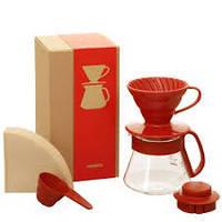 Подарочный набор: Пуровер Hario 01 керамика, Сервировочный чайник, Фильтры