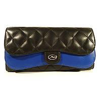 Женский кожаный кошелек  Moro & Jenny 143-117 черный/синий, расцветки