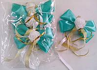 Бутоньерки на ручки свадебного авто (зеленые) 4 шт.
