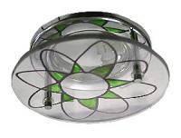 Точечный светильник MR 16 S7269 CH+WH+GR бело-зеленый (витраж)