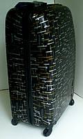 Чемодан дорожный на колесах, из поликарбоната, средний, черный с золотом и серебром.
