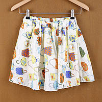 Шифоновая короткая юбка с белым поясом №4.