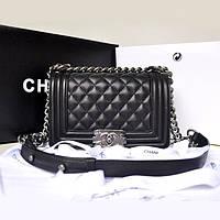 Женская брендовая сумка Шанель бой Chanel Boy черная