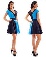 Платье два цвета, черный голубой р.S,M