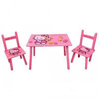Детский столик и два стульчика Hello Kitty Bambi М 0293