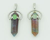 Подвеска-маятник из натурального камня чакра Индийский агат/Авантюрин