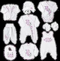 """Подарочный набор для новорождённых """"Украинские мотивы"""", 10 предметов (девочка) 56,62"""