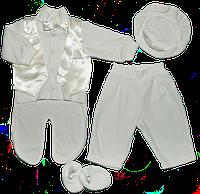 Крестильный велюровый набор для мальчика из 4-х предметов 62,68,74