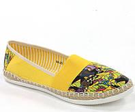 Женские текстильные балетки желтого цвета с рисунком