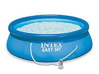 Круглый Intex надувной бассейн 28112 (56972) с фильтром с насосом Easy Set Pool 244*76 см для всей семьи
