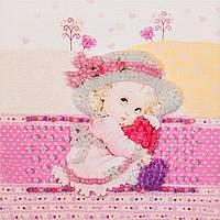 Набор для вышивки бисером магнита Волшебная страна Девочка с сердечком (FLA001) 9 х 9 см