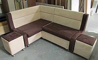 Мягкий кухонный уголок со спальным местом и пуфиками для дома