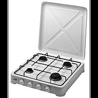 Кухонный газовый таганок, 4 конфорки, решетка, с крышкой, устойчивая конструкция, регуляторы, 540*510*90 мм