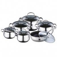Набор посуды 12 предметов (кастрюли 2.1л, 2.9л, 4.1л, 6.3л; ковш 2.1л; сковорода 24см)