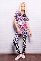Костюм Леся с принтом Цветной Жираф из микродайвинга - свитшот с коротким рукавом и лосины