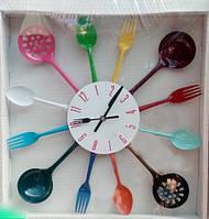 """Оригинальные настенные часы для кухни """"Кухонная радуга """", 36*36 см."""