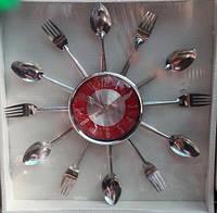 """Оригинальные настенные часы для кухни """"Вилки-ложки"""", 37*37 см."""