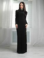 Вечернее платье в пол с разрезом, черное. Ткань: масло