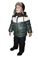 Зимний комплект для мальчика в стиле милитари: куртка и полукомбинезон