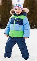 """Верхняя одежда, детская зимняя, комбинезон/комплект для девочки с отстегивающимся капюшоном """"Микс"""""""